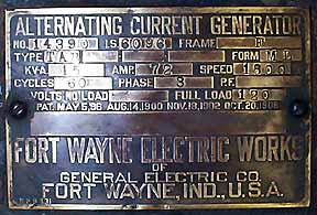ALTERNATING CURRENT GENERATOR Frame F Type TAB Form ML KVA 15 AMP 72 Speed 1800 Cycles 60 Phase 3 Volts Full Load 120 Patd. May 5, 1896 Aug 14, 1900 Nov 18, 1902 Oct 20, 1908 FORT WAYNE ELECTRIC WORKS of GENERAL ELECTRIC COMPANY Ft. Wayne, IN USA.