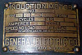 GE induction motor brass tag
